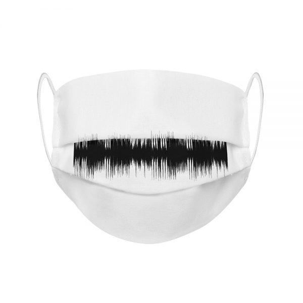 """Mundmaske von Shirtinator mit dem Design """"Frequenz"""" in Frontansicht"""