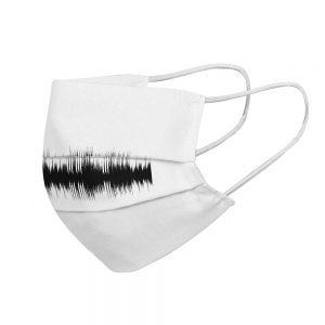 """Mundmaske von Shirtinator mit dem Design """"Frequenz"""" in Seitenansicht"""