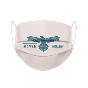 "Mundmaske von Shirtinator mit dem Design ""Be Safe & Healthy"" in Frontansicht"
