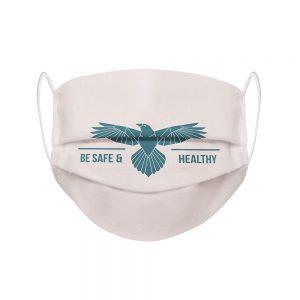 """Mundmaske von Shirtinator mit dem Design """"Be Safe & Healthy"""" in Frontansicht"""