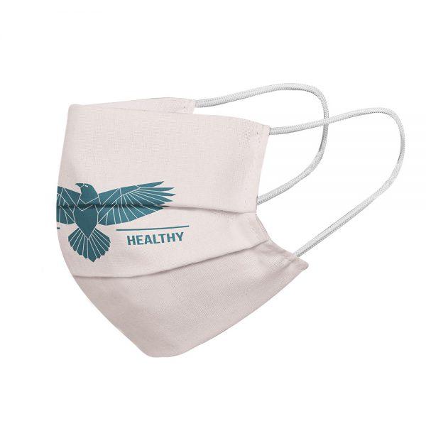 """Mundmaske von Shirtinator mit dem Design """"Be Safe & Healthy"""" in Seitenansicht"""