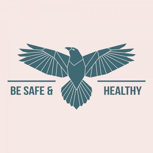 """Mundmaske von Shirtinator mit dem Design """"Be Safe & Healthy"""""""