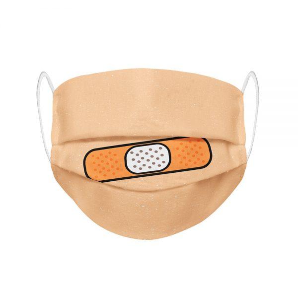 """Mundmaske von Shirtinator mit dem Design """"Pflaster"""" in Frontansicht"""