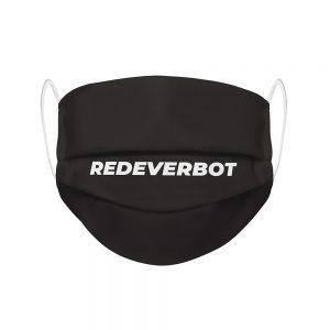 """Mundmaske von Shirtinator mit dem Design """"Redeverbot"""" in Frontansicht"""