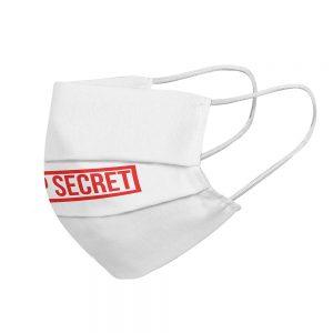 """Mundmaske von Shirtinator mit dem Design """"Top Secret"""" in Seitenansicht"""