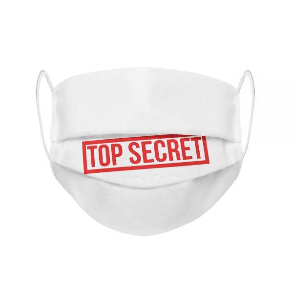 """Mundmaske von Shirtinator mit dem Design """"Top Secret"""" in Frontansicht"""
