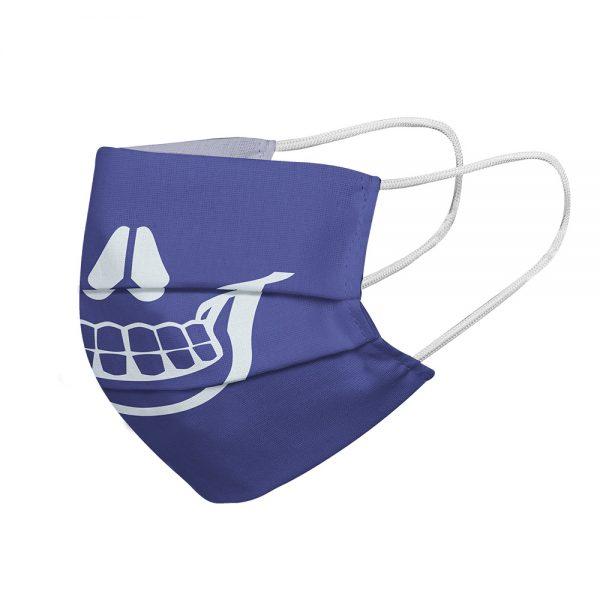 """Mundmaske von Shirtinator mit dem Design """"Skull Smile"""" in Seitenansicht"""