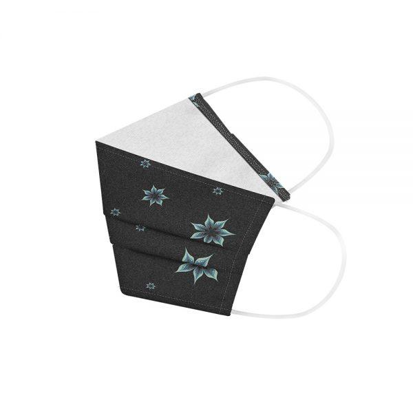 """Mundmaske von Shirtinator mit dem Design """"Flowers"""" in Seitenansicht"""