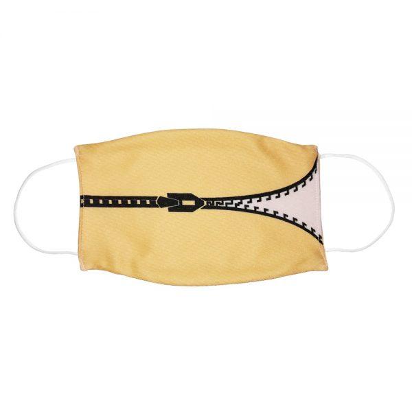 """Mundmaske von Shirtinator mit dem Design """"Zipper"""" in Frontansicht"""